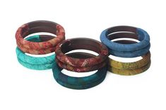 Sari Wooden Bangles (Stormy Weather) – Village Artisan Golden Sun, Sari Fabric, Hand Wrap, Bangles, Bracelets, Casual Outfits, Artisan, Teal, Weather