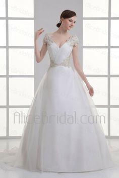 Organza V-Neckline Ball Gown Sweep Train Embroidered Wedding Dress - Alice Bridal