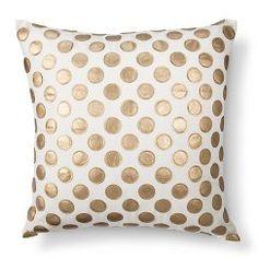"Leather Applique Polka Dot Toss Pillow - Silver (20""x20"")"