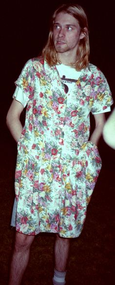 """Kurdt in a dress! ❤ ❤ ❤ Kurt Cobain, Amherst, MA, US. April 27, 1990. """"I like to wear dresses because they're comfortable. If I could wear a sheet, I would."""" -KC"""