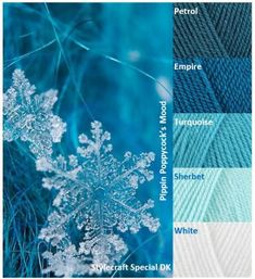 Kleurinspiratie Snowflake - Pippin Poppycock: for my bathroom. Yarn Color Combinations, Color Schemes Colour Palettes, Colour Pallette, Color Palate, Yarn Colors, Colours, Ideias Diy, Crazy Colour, Colour Board