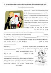 English worksheet: jobs and comparatives, superlatives: all this with cloze and a reading exercise!