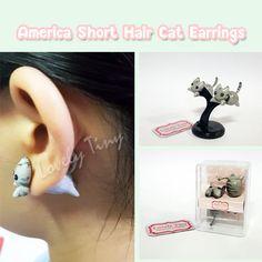 Kawaii Earring  American Shorthair Cat Stud Polymer Clay