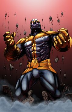 Thanos is a fictional character, a supervillan in the Marvel Comic universe. Created by Jim Starlin, he first appeared in Iron Man #55 in 1973.