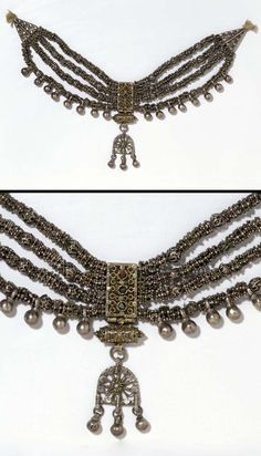 Yemen | Necklace ~ lazem ~ silver with red and blue pastes | ca. 2nd half of the 19th century // © Victoria and Albert Museum, London. 357-1904