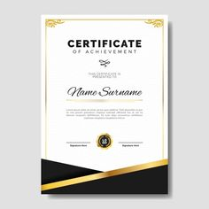 Elegant certificate template with golden... | Free Vector #Freepik #freevector #frame #certificate #template #education Certificate Of Appreciation, Certificate Of Achievement, Event Poster Template, Flyer Template, Frame Template, Banner Template, Certificate Background, Birthday Flyer, Certificate Design Template