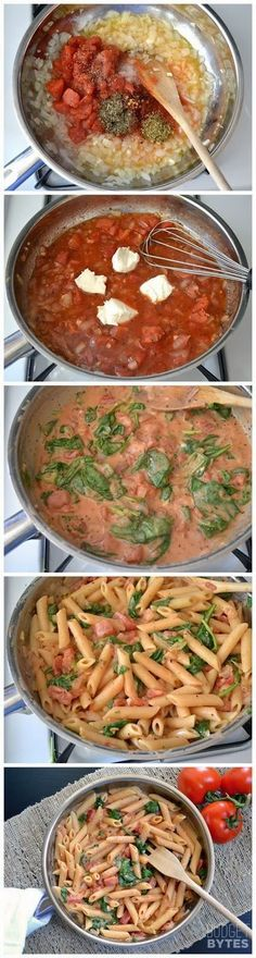 Creamy Tomato & Spinach Pasta very easy! I only had cream cheese and not the other cheese this recipe called for, but it was amazing! Another husband and child approved recipe.