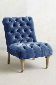 Velvet Orianna Slipper Chair from Anthropologie. We'd glam up a family room or living room with this gorgeous velvet chair. Home Furniture, Furniture Design, Furniture Chairs, Room Chairs, Velvet Furniture, Handmade Furniture, Unique Furniture, Chair Design, Dining Chairs