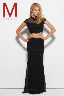 Style 1943 high neckline, crop top, two-piece, lace, sheer illusion, floor length skirt, black dress