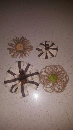 Burlap gift decorations i made.
