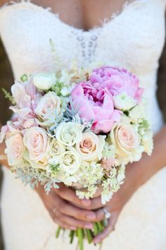 Love how the peonies really stand out! View the full wedding here:http://thedailywedding.com/2015/12/17/country-barn-wedding-lindsay-craig/