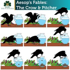 Aesop's Fables - The Crow and the Pitcher Clip Art by Studio Devanna English Moral Stories, Moral Stories In Hindi, English Stories For Kids, Moral Stories For Kids, Short Stories For Kids, Picture Comprehension, Comprehension Strategies, Reading Comprehension, Story Sequencing Pictures