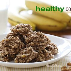 Healthy Cookies Recipe - ZipList - only three ingredients - 2 ripe bananas, 1 cup uncooked quick oats, 1/4 cup crushed walnuts - bake 15 minutes at 350 degrees