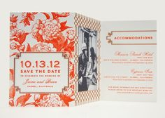 """Marinwood"" letterpress Save the Date by Dauphine Press features a custom peony floral motif. Customize it further by choosing your own ink colors. This tri-fold design beautifully features your engagement photo."