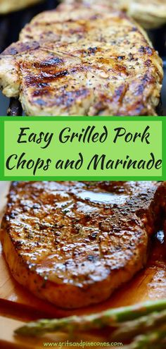 Just in time for grilling season, Easy Grilled Pork Chops and Marinade would be perfect for your next barbecue. A flavorful, simple pork chop marinade made with soy sauce, fresh garlic, and lemon-pepper seasoning makes all the difference and does wonders to keep your grilled pork chops both tender and juicy. #porkchops, #barbecuerecipes, #recipesforthegrill, #barbecue, #porkrecipes, #grilledporkchops via @gritspinecones Easy Pork Chop Marinade, Marinated Pork Chops, Grilled Pork Chop Seasoning, Grilled Pork Chops Boneless, Marinade Porc, Marinade Sauce, Grilled Meat, Pork Rib Recipes, Grilling Recipes