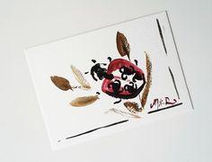 """NOUVEAU-Carte postale unique aquarelle """"La Coccinelle porte bonheur"""" japonais breton rouge vert : Cartes par milid"""