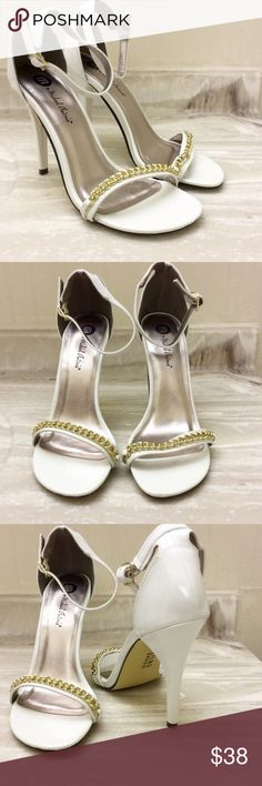 """🆕Michael Antonio strappy heels gold chain lining New! I only wore around the house once to try it! Too big for me, but really cute and stylish. Heel height: 4.25"""" Michael Antonio Shoes Heels"""