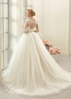 Shop affordable Ball Gown Floor-Length Jewel Long-Sleeve Illusion Tulle Lace Dress With Appliques at June Bridals! Over 8000 Chic wedding, bridesmaid, prom dresses & more are on hot sale. Illusion Neckline Wedding Dress, Lace Wedding Dress, Wedding Dresses Plus Size, Bridal Wedding Dresses, Cheap Wedding Dress, Designer Wedding Dresses, Lace Dress, Bateau Neckline, Ball Dresses