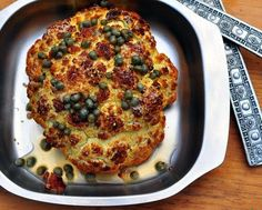 Whole Roasted Cauliflower with Lemon Vinaigrette ♥ AVeggieVenture.com. Low Carb. WW2. Vegan. Easy!