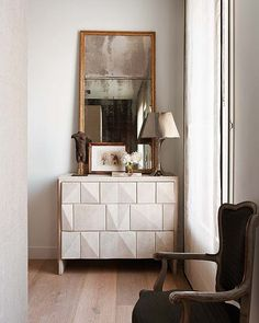 Old, New, Lacquered, love it..... I would of course trade the mirror for a Louis Phillipe gilded gold mirror :)