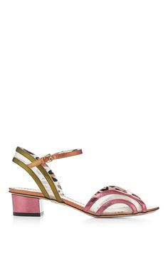 These **Charlotte Olympia** sandals feature multicolored metallic leather detailing with a playful touch of leopard-print lining.