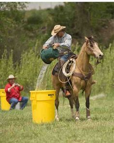 horse obstacle....trail competition...Water carry and pour