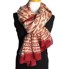 Ladies Cotton Scarf - Tropical Fern Design in Red Ochre Traditional Block Print - Handmade cotton beach sarong.