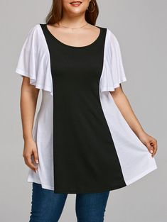 Color Contrast Plus Size Flared Sleeve T-shirt - BLACK WHITE 3XL