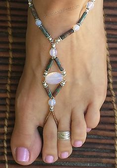 Gorgeous, opalite beads are surrounded by calsilica, moonstone and silver plated beads. Beach jewelry for lovers of barefoot sandals, anklets, and foot jewelry. Beaded Foot Jewelry, Beaded Shoes, Beaded Sandals, Beaded Anklets, Anklet Jewelry, Anklet Bracelet, Beach Jewelry, Bracelets, Feet Jewelry