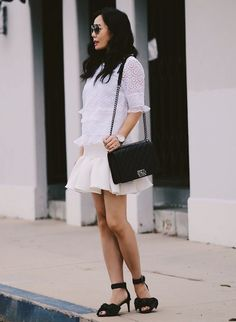 5.15 goes with everything (Rebecca Taylor lace top + ASOS peplum skirt + Tibi bow sandals + Chanel bag + Valentino sunnies + Michele watch)