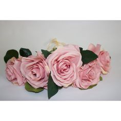 Handmade pastel light pink garden roses wedding bridal everyday flower... ($85) ❤ liked on Polyvore featuring accessories, hair accessories, flower crown, flower garland, bride hair accessories, bridal floral crown and floral crown
