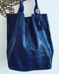 Wildstar Navy Snakeskin Leather Tote Bag with large Tassle £49.99 2016 November
