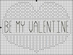 Free Cross Stitch Pattern - Be My Valentine Heart Cross Stitch Pattern: Be My Valentine Heart Cross Stitch Pattern - Symbol