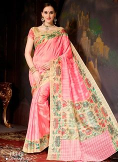 Charming Hot Pink And Cream Silk With Printed Party Wear Saree  http://www.angelnx.com/featuredproduct#/sort=p.date_added/order=DESC/limit=32/page=10