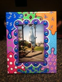 Hand Painted Picture Frame by FunkyHouseOfLydia on Etsy, $35.00