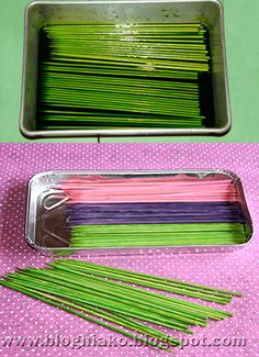 She dyed some bamboo skewers with food coloring . The next day washed them under running water then dried them out in preheated toaster oven for 2-3 minutes