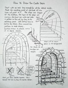 How to Draw Worksheets for The Young Artist: How To Draw Stone Stairs, Lesson and Worksheet. This is so wonderfully understandable for the young artist. Basic Drawing, Drawing Tips, Drawing Projects, Manga Drawing, Drawing Art, Drawing Ideas, Art Drawings Sketches, Pencil Drawings, Sketch Art