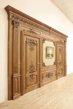 [ Wood carving is a constant classic in the interior. The luxury of decorative carved elements, the Door Design Interior, Main Door Design, Wooden Door Design, Wall Design, Interior Decorating, House Design, Custom Wood Doors, Wooden Doors, Classic Interior