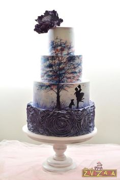 Silhouette Wedding Cake by Nasa Mala Zavrzlama - http://cakesdecor.com/cakes/255714-silhouette-wedding-cake