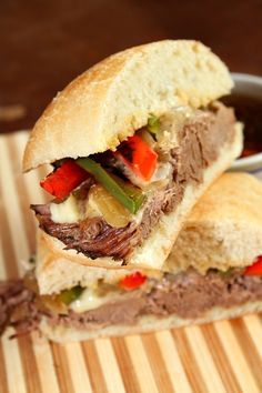 Slow Cooker French Dip Sandwiches - from RecipeGirl.com