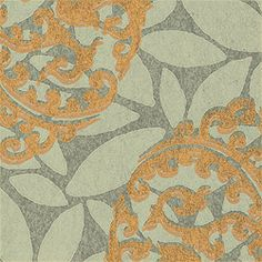 Thibaut Filigree - Murano - Wallpaper - Metallic on Seaglass