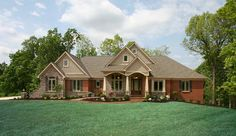 homes with stone accent on front | Brick stone and shingle accents enhance the front elevation's ...