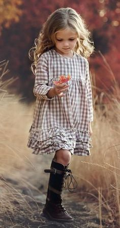 Our signature Greta dress. Three layers of ruffle on the hem gives the dress that extra special vintage look. The model is wearing a size 6 and is 49 tall Cotton Coconut Shell Button Little Girl Outfits, Little Girl Fashion, Little Girl Dresses, Fashion Kids, Toddler Fashion, Little Girls, Fashion Clothes, Baby Girl Dresses, Vintage Girls Dresses