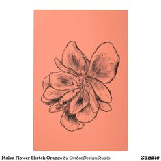Shop Malva Flower Sketch Orange Metal Print created by OmbreDesignStudio. Wood Wall Art, Wall Art Decor, Holiday Cards, Christmas Cards, Orange Wall Art, Flower Sketches, Elephant Gifts, Wall Decals, Art Pieces