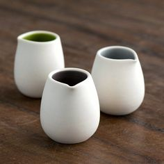 As seen in Sunset Magazine and Country Living Magazine. These miniature pitchers are perfect for a single serving of cream or maple syrup. Interior is glazed in your choice of color, exterior is ungla