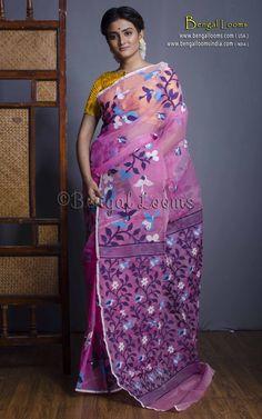 Beautiful Pure Handloom Muslin Jamdani Saree with Bird Motif in Pink and Blue. Dhakai Jamdani Saree, Casual Saree, Fashion Wear, Dress Codes, Indian Wear, Indian Fashion, Sarees, Going Out, Pure Products