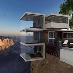 I will stay ON TOP of a rock, I will stay INSIDE a rock. But I will never stay underneath a rock or hanging over the side of a rock Unique Architecture, Interior Architecture, Modern Villa Design, House On The Rock, Unusual Homes, Luxury Homes, House Styles, Las Vegas, Penthouses