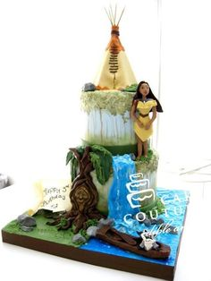 By Cake Couture Edible Art. Cake Wrecks - Home Pocahontas Cake, Pocahontas Birthday Party, Rapunzel Birthday Cake, Rapunzel Cake, Disney Pocahontas, Disney Birthday, Birthday Cakes, Crazy Cakes, Fancy Cakes
