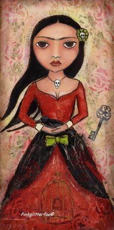 Frida folk art painting by one of Suzi Blu's students.