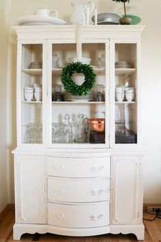 Lightly Distressed China Cabinet Kitchen Cabinets Design Painted Furniture